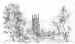 Gloucester Cathedral - pencil sketch by EAW